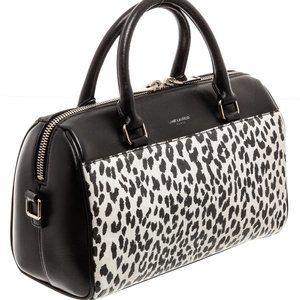 YSL Black White Leather Classic Baby Duffle Bag